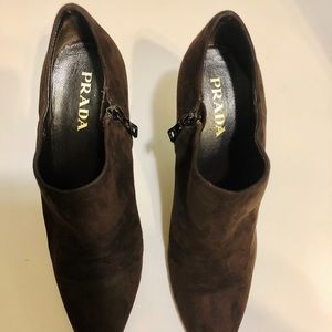 Authentic Prada Chocolate Brown Suede Ankle Boots